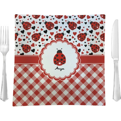 """Ladybugs & Gingham 9.5"""" Glass Square Lunch / Dinner Plate- Single or Set of 4 (Personalized)"""