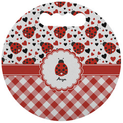 Ladybugs & Gingham Stadium Cushion (Round) (Personalized)