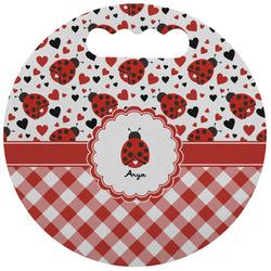 Ladybugs & Gingham Stadium Cushion (Round) (Personalized)