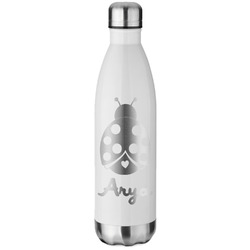 Ladybugs & Gingham White Water Bottle - 26 oz. Stainless Steel (Personalized)