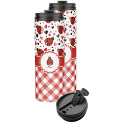 Ladybugs & Gingham Stainless Steel Skinny Tumbler (Personalized)