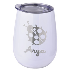 Ladybugs & Gingham Stemless Wine Tumbler - 5 Color Choices - Stainless Steel  (Personalized)
