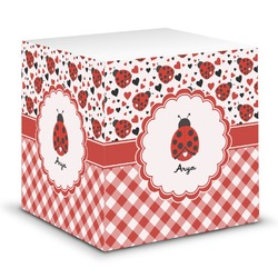 Ladybugs & Gingham Sticky Note Cube (Personalized)