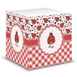 Ladybugs & Gingham Sticky Note Cube (Personalized)