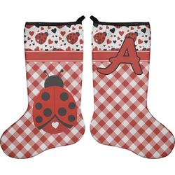 Ladybugs & Gingham Holiday Stocking - Double-Sided - Neoprene (Personalized)
