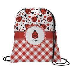 Ladybugs & Gingham Drawstring Backpack (Personalized)