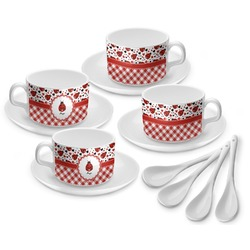 Ladybugs & Gingham Tea Cup - Set of 4 (Personalized)