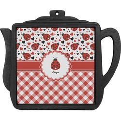 Ladybugs & Gingham Teapot Trivet (Personalized)