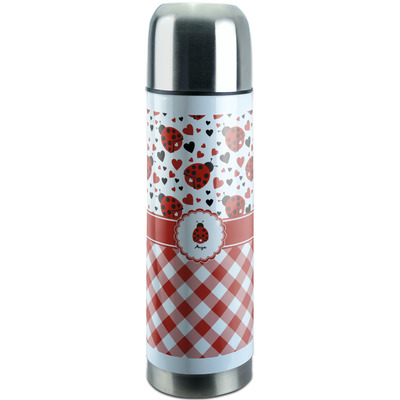 Ladybugs & Gingham Stainless Steel Thermos (Personalized)