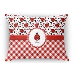 Ladybugs & Gingham Rectangular Throw Pillow Case (Personalized)