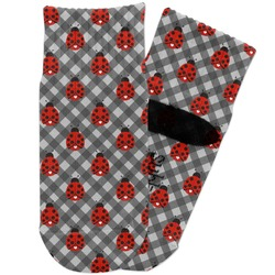 Ladybugs & Gingham Toddler Ankle Socks (Personalized)