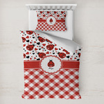 Ladybugs & Gingham Toddler Bedding w/ Name or Text