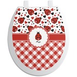 Ladybugs & Gingham Toilet Seat Decal (Personalized)