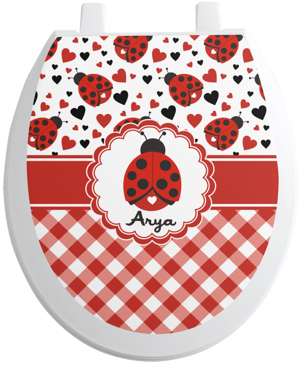 ladybugs gingham toilet seat decal round personalized. Black Bedroom Furniture Sets. Home Design Ideas