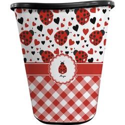 Ladybugs & Gingham Waste Basket - Double Sided (Black) (Personalized)