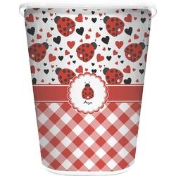 Ladybugs & Gingham Waste Basket - Double Sided (White) (Personalized)