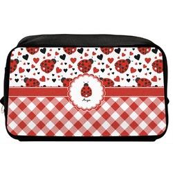 Ladybugs & Gingham Toiletry Bag / Dopp Kit (Personalized)