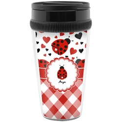 Ladybugs & Gingham Travel Mug (Personalized)
