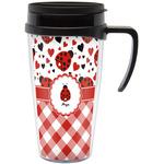 Ladybugs & Gingham Travel Mug with Handle (Personalized)