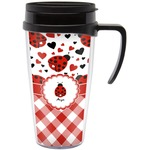 Ladybugs & Gingham Travel Mug with Handle (Personalized)