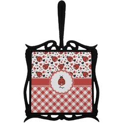 Ladybugs & Gingham Trivet with Handle (Personalized)