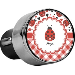 Ladybugs & Gingham USB Car Charger (Personalized)