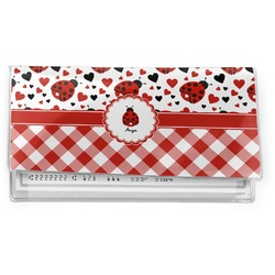 Ladybugs & Gingham Vinyl Check Book Cover (Personalized)