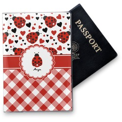 Ladybugs & Gingham Vinyl Passport Holder (Personalized)