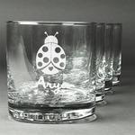 Ladybugs & Gingham Whiskey Glasses (Set of 4) (Personalized)
