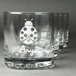 Ladybugs & Gingham Whiskey Glasses (Set of 4) (Personalized)
