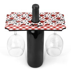 Ladybugs & Gingham Wine Bottle & Glass Holder (Personalized)