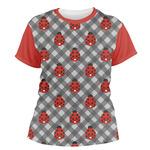 Ladybugs & Gingham Women's Crew T-Shirt (Personalized)