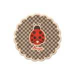 Ladybugs & Gingham Genuine Maple or Cherry Wood Sticker (Personalized)