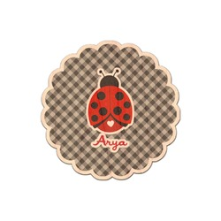Ladybugs & Gingham Genuine Wood Sticker (Personalized)