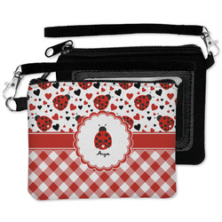 Ladybugs & Gingham Wristlet ID Case w/ Name or Text
