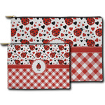 Ladybugs & Gingham Zipper Pouch (Personalized)