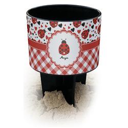 Ladybugs & Gingham Black Beach Spiker Drink Holder (Personalized)