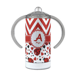 Ladybugs & Chevron 12 oz Stainless Steel Sippy Cup (Personalized)