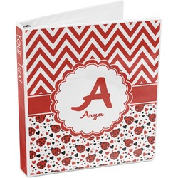 Ladybugs & Chevron 3-Ring Binder (Personalized)