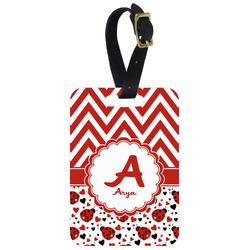 Ladybugs & Chevron Metal Luggage Tag w/ Name and Initial