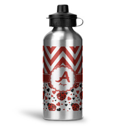Ladybugs & Chevron Water Bottle - Aluminum - 20 oz (Personalized)