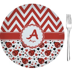 "Ladybugs & Chevron Glass Appetizer / Dessert Plates 8"" - Single or Set (Personalized)"