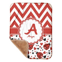 "Ladybugs & Chevron Sherpa Baby Blanket 30"" x 40"" (Personalized)"
