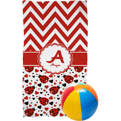 Ladybugs & Chevron Beach Towel (Personalized)