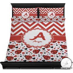 Ladybugs & Chevron Duvet Cover Set (Personalized)