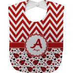 Ladybugs & Chevron Baby Bib (Personalized)
