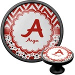 Ladybugs & Chevron Cabinet Knob (Black) (Personalized)