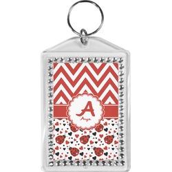 Ladybugs & Chevron Bling Keychain (Personalized)
