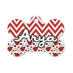 Ladybugs & Chevron Bone Shaped Dog ID Tag (Personalized)