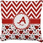 Ladybugs & Chevron Faux-Linen Throw Pillow (Personalized)